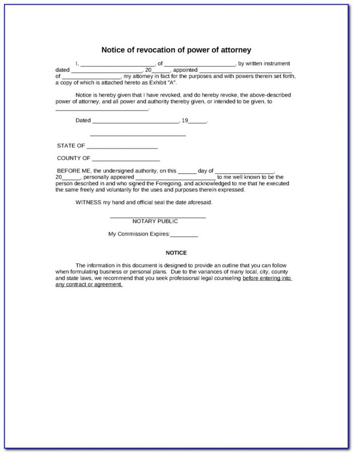 Business Power Of Attorney Format