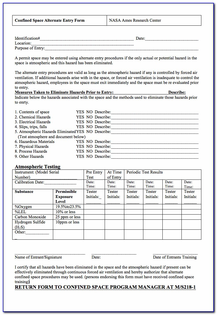 Cal Osha Confined Space Permit Form