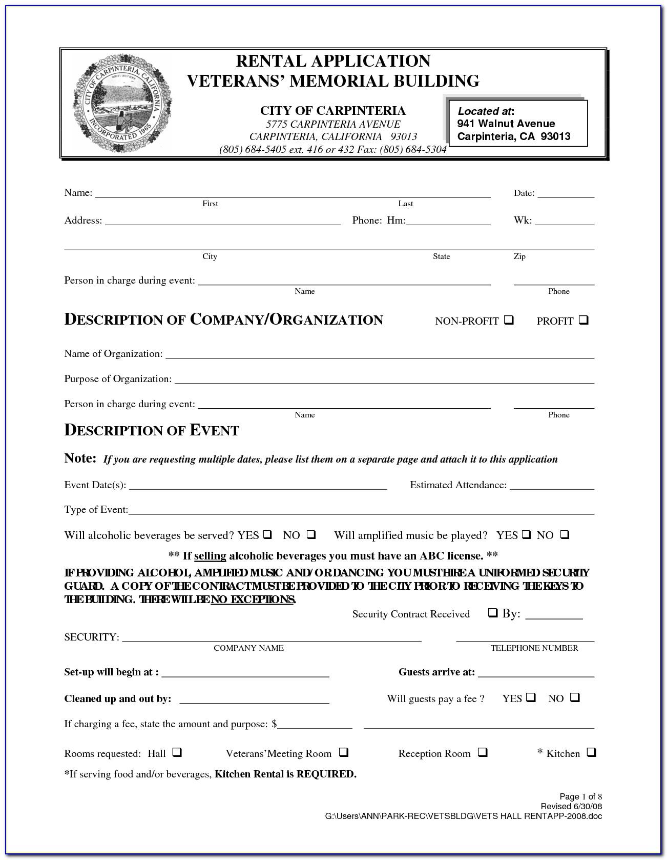 California Rent Agreement Form