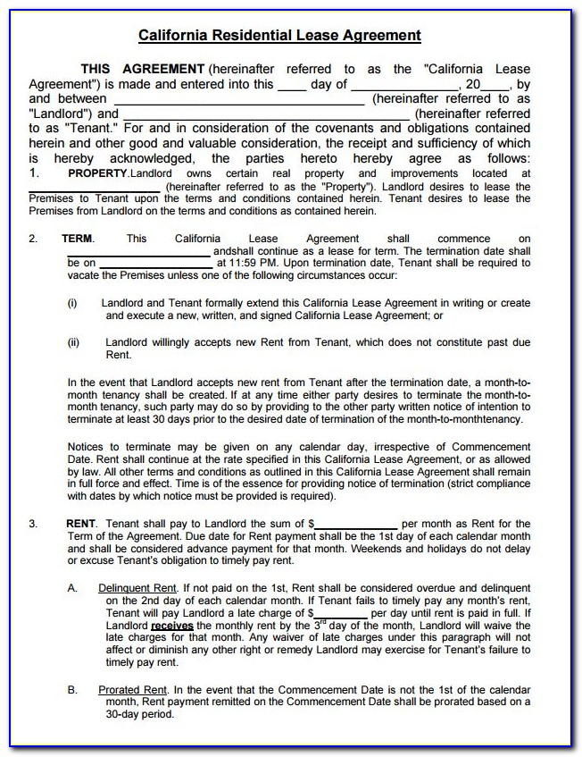 California Residential Lease Agreement Word Document