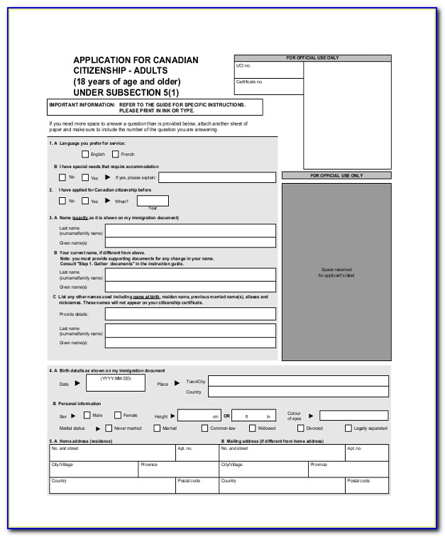 Canadian Immigration Online Form
