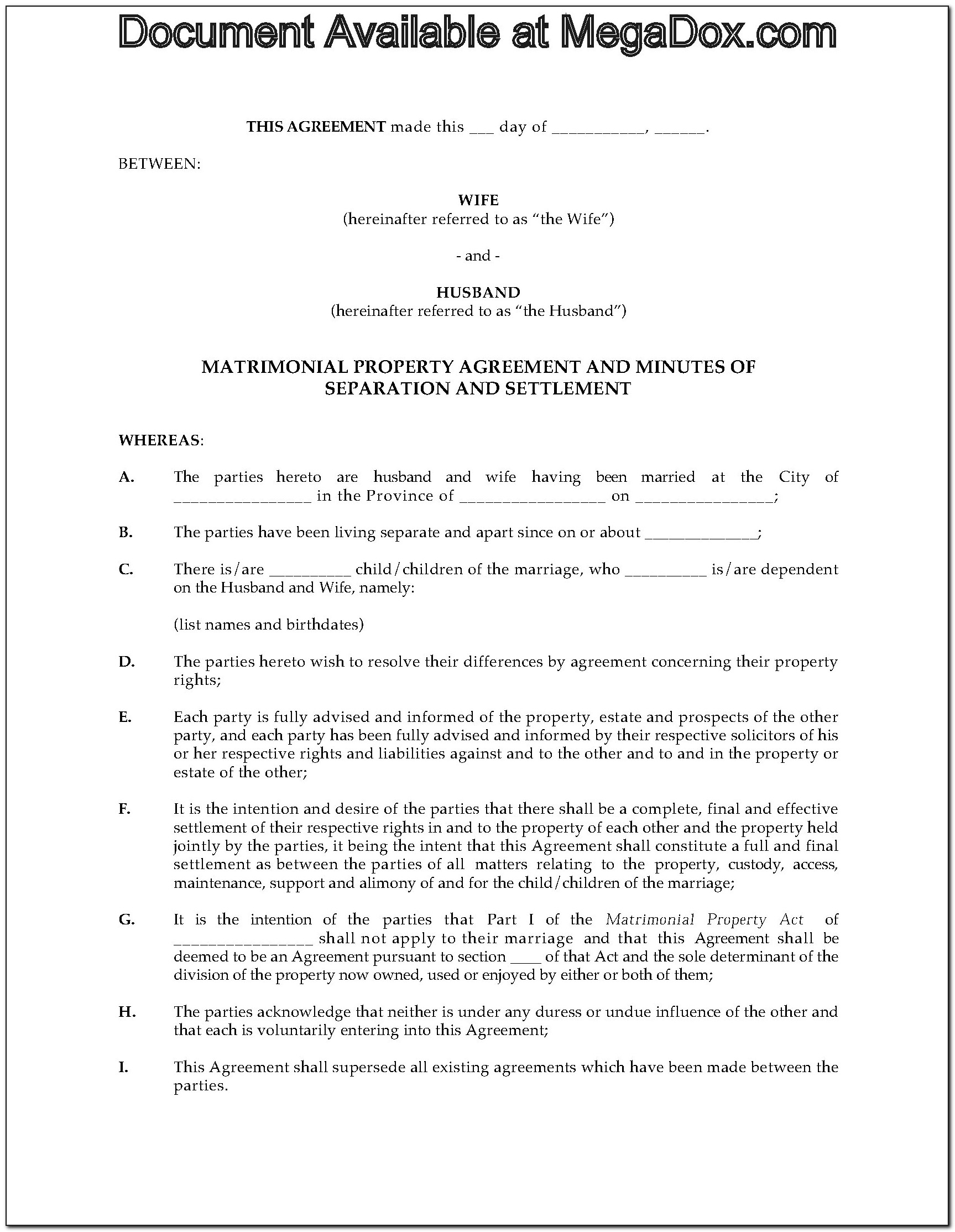 Canadian Separation Agreement Form