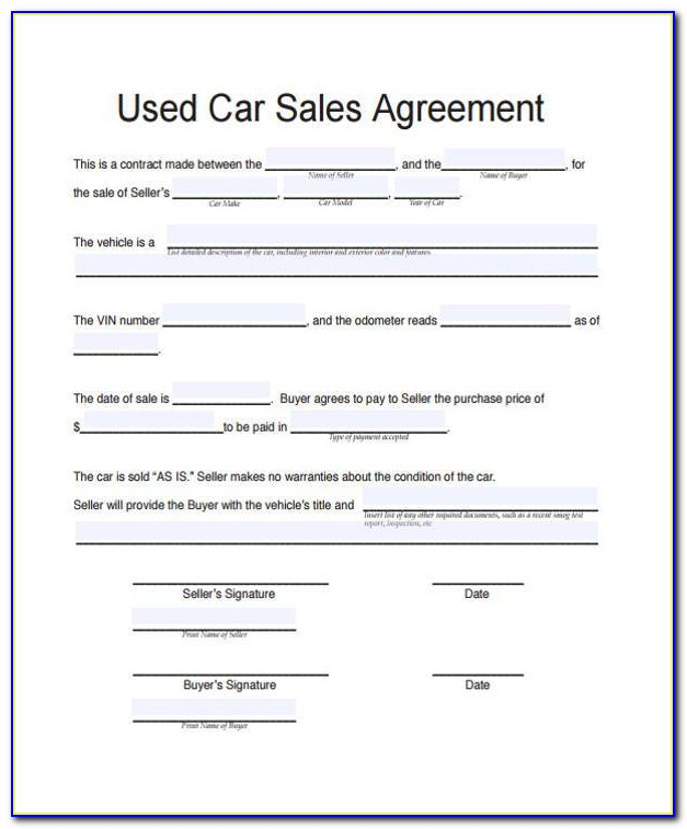 Car Purchase Contract Form