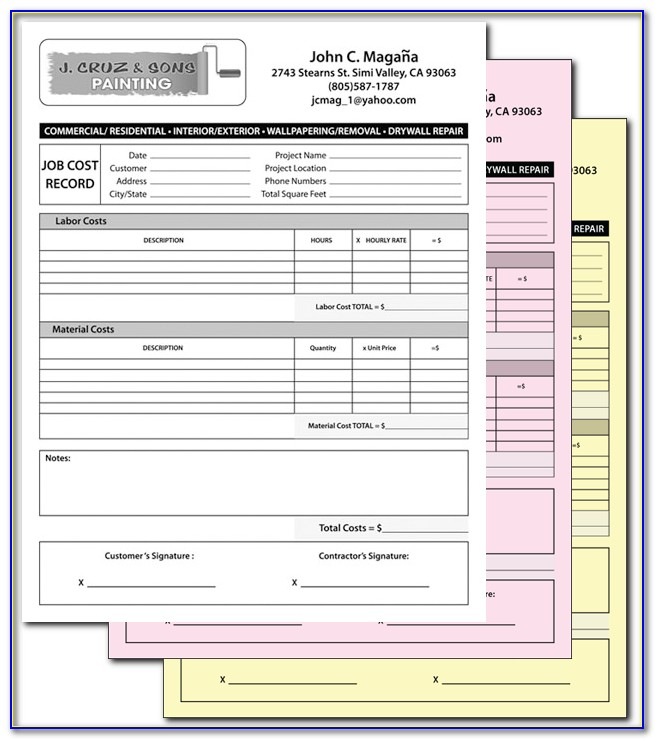Carbonless Receipt Forms