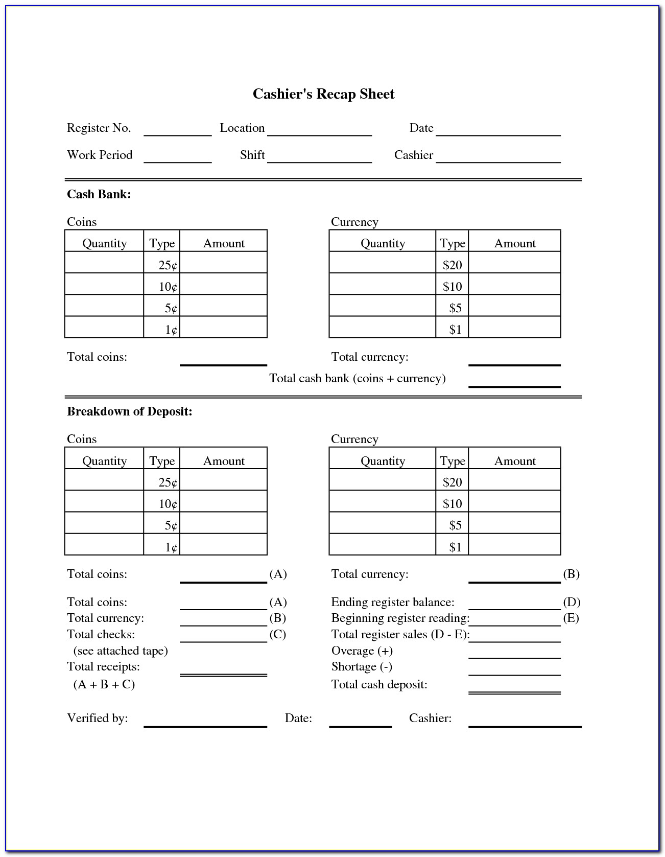 Cash Drawer Reconciliation Form Template