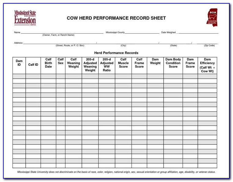 Cattle Record Keeping Forms