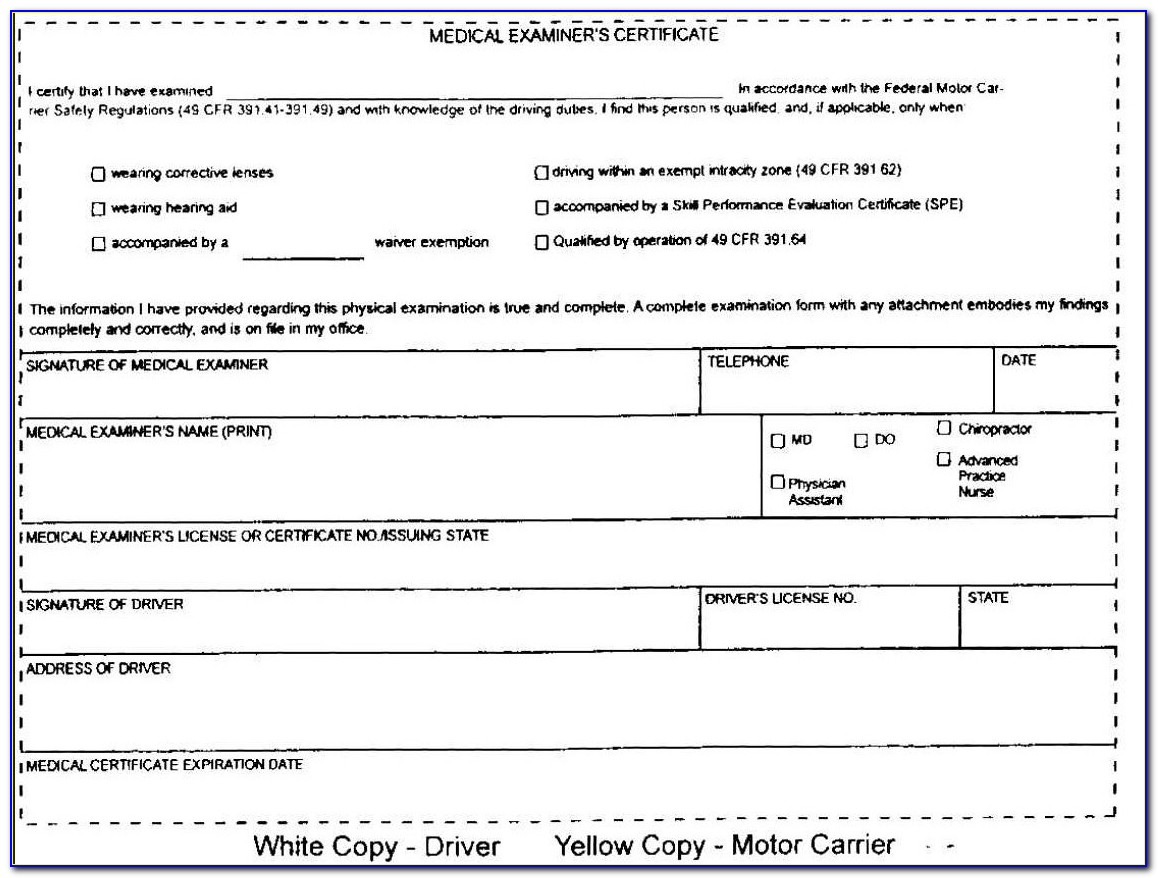 Cdl Medical Card Forms