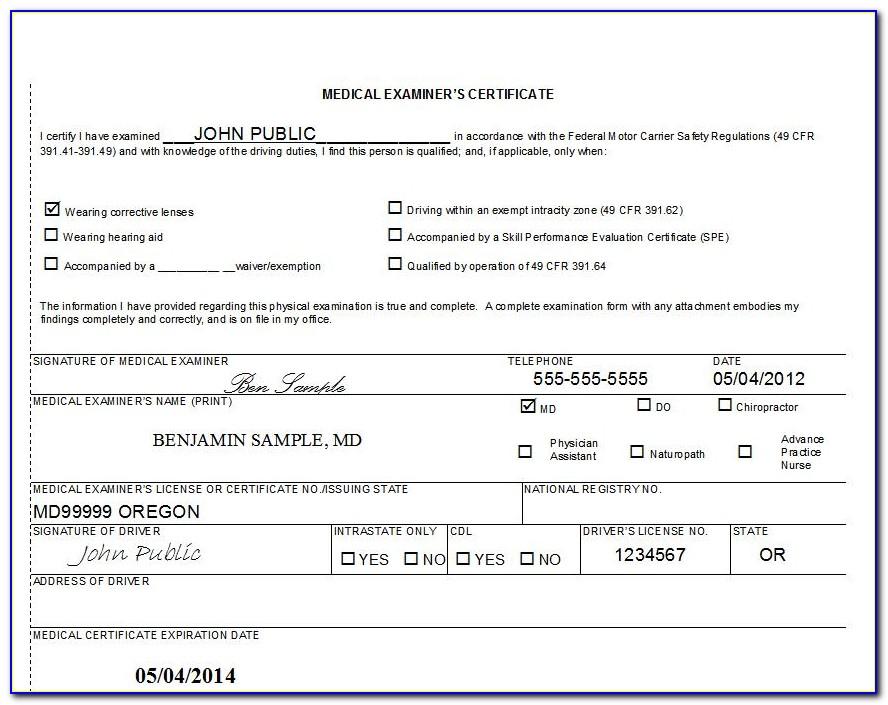 Cdl Medical Exam Form Florida
