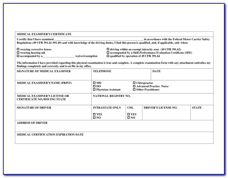 Cdl Medical Exam Form Nj