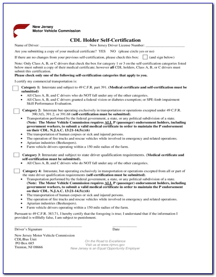 Cdl Medical Exam Form Pa