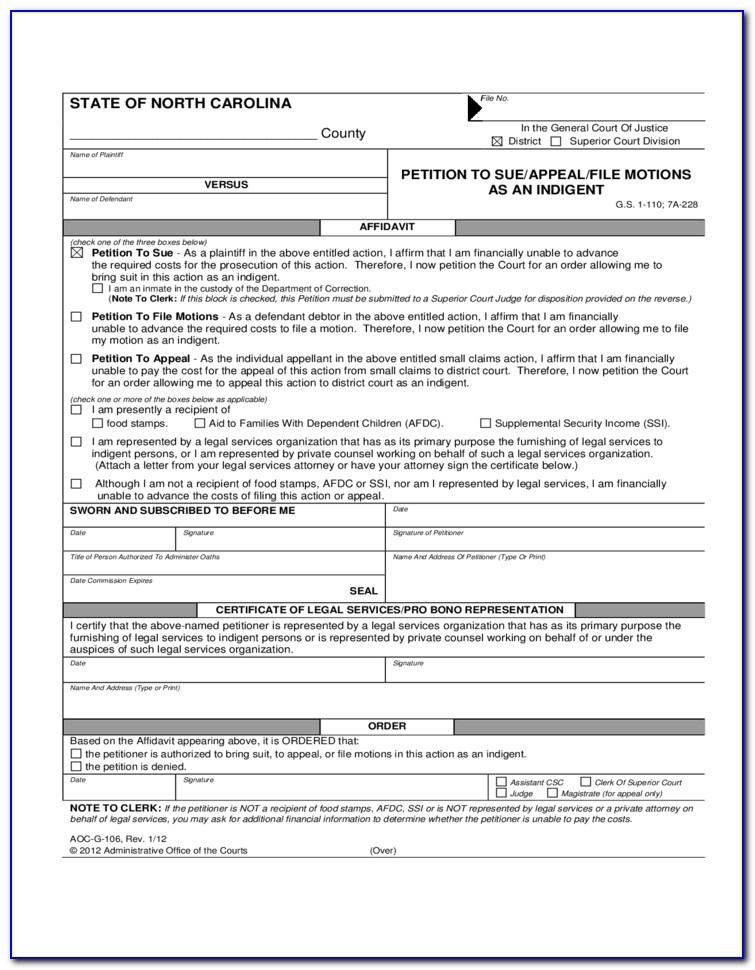 Child Custody Complaint Form Nc