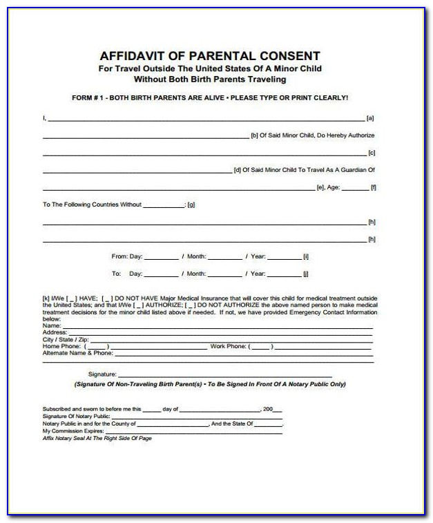 Child Travel Consent Form Example