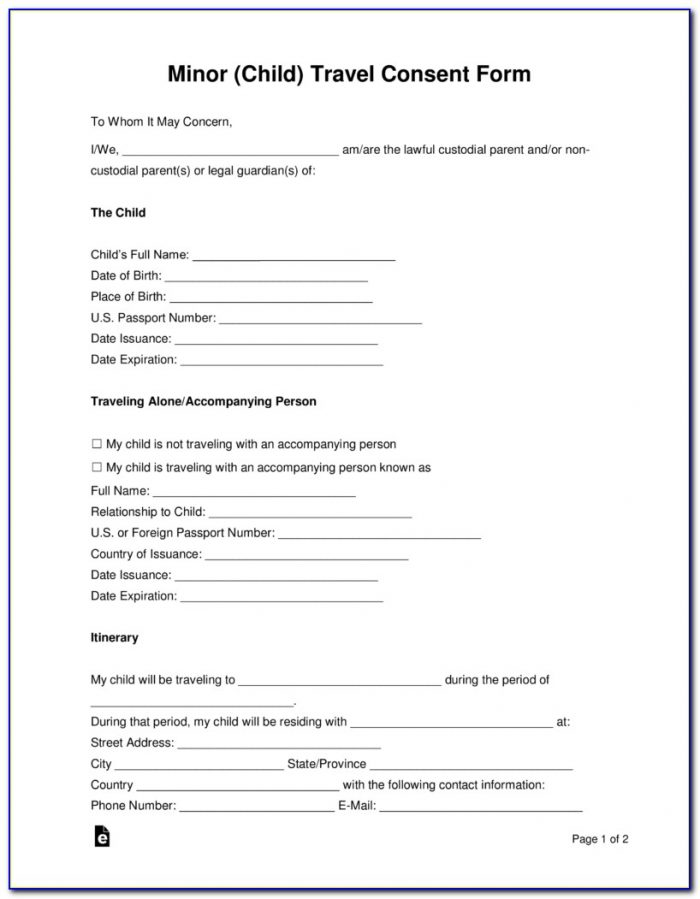 Child Travel Consent Form Template Pdf