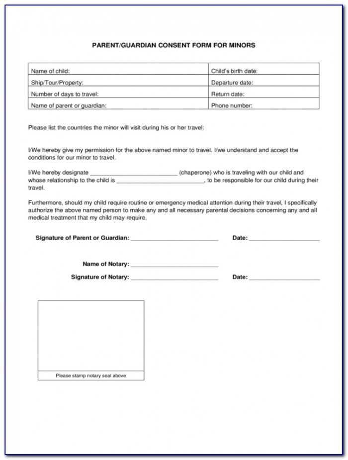 Child Travel Consent Form Template Uk Pdf