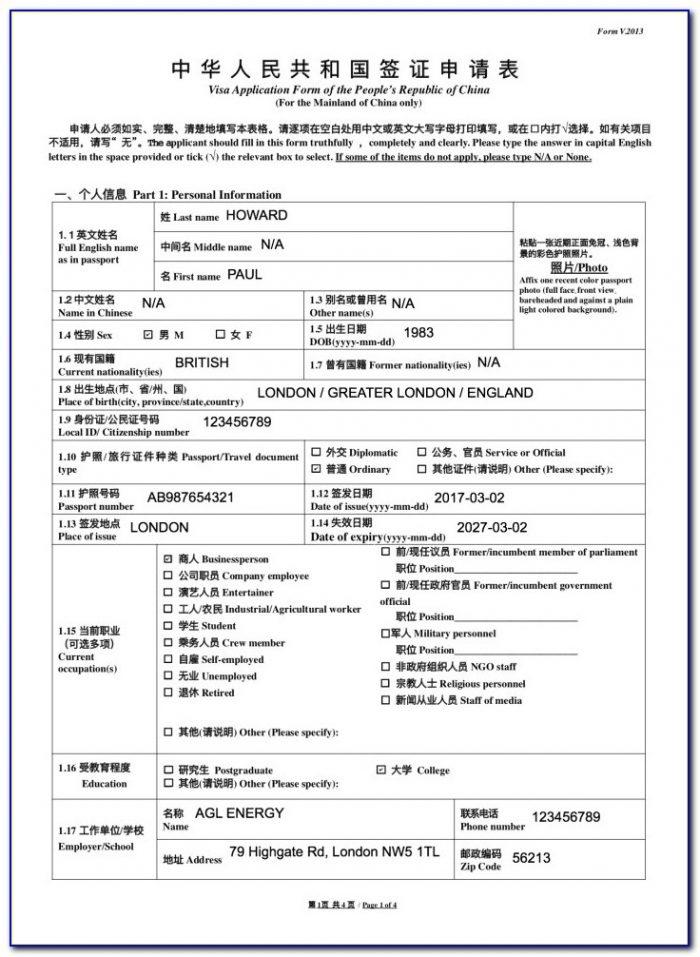 China Embassy Visa Application Form Pdf