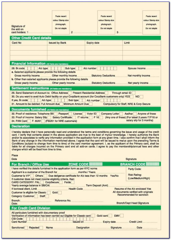 City Union Bank Credit Card Application Form