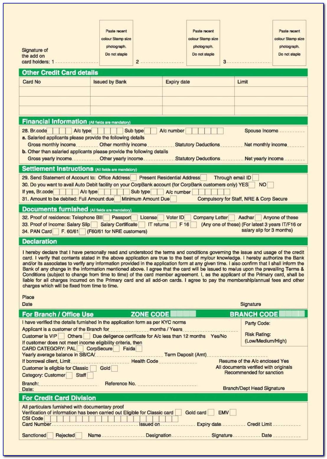 City Union Bank Credit Card Application Form