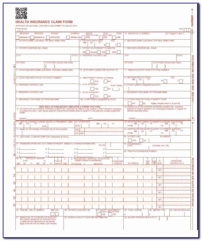 Hcfa 1500 Claim Form Envelopes Cms 1500 Hcfa Claim Forms New Version 02 12 Laser 125