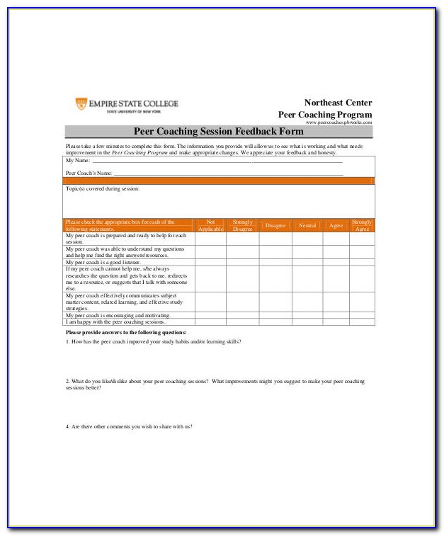 Coaching Evaluation Form Template