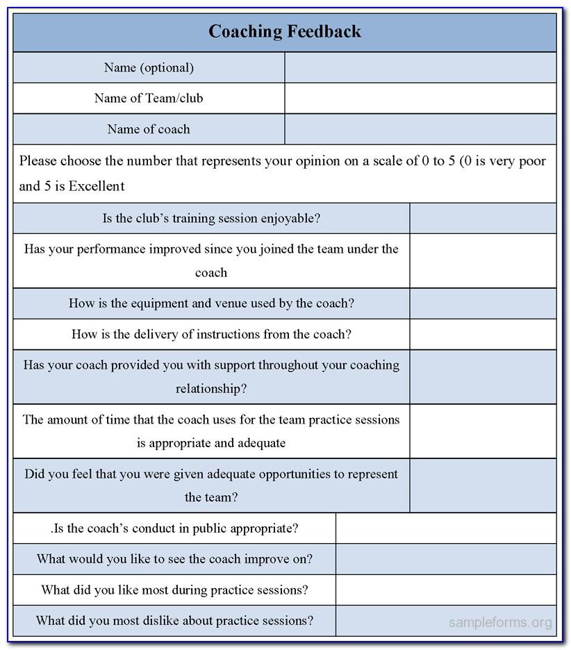 Coaching Feedback Form Template