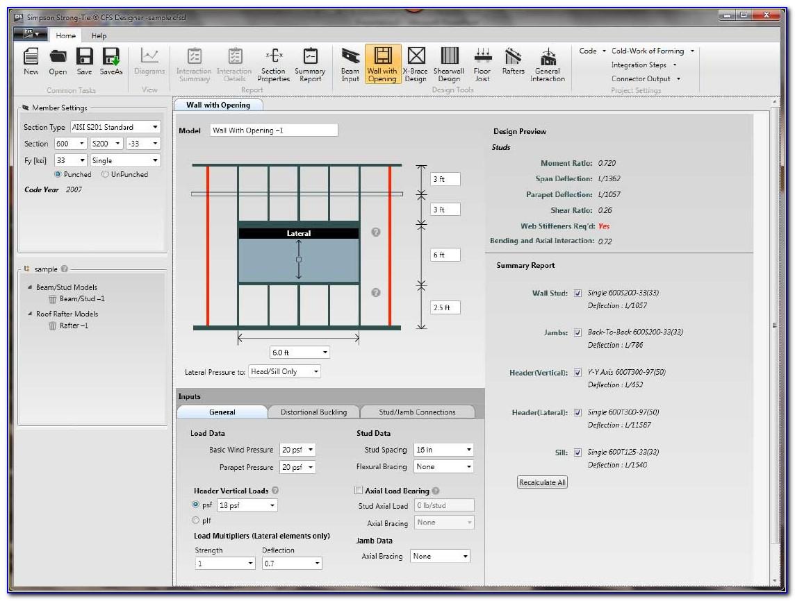 Cold Formed Steel Framing Design Software