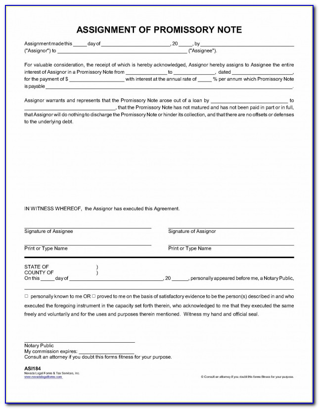 Collateral Assignment Of Promissory Note Form
