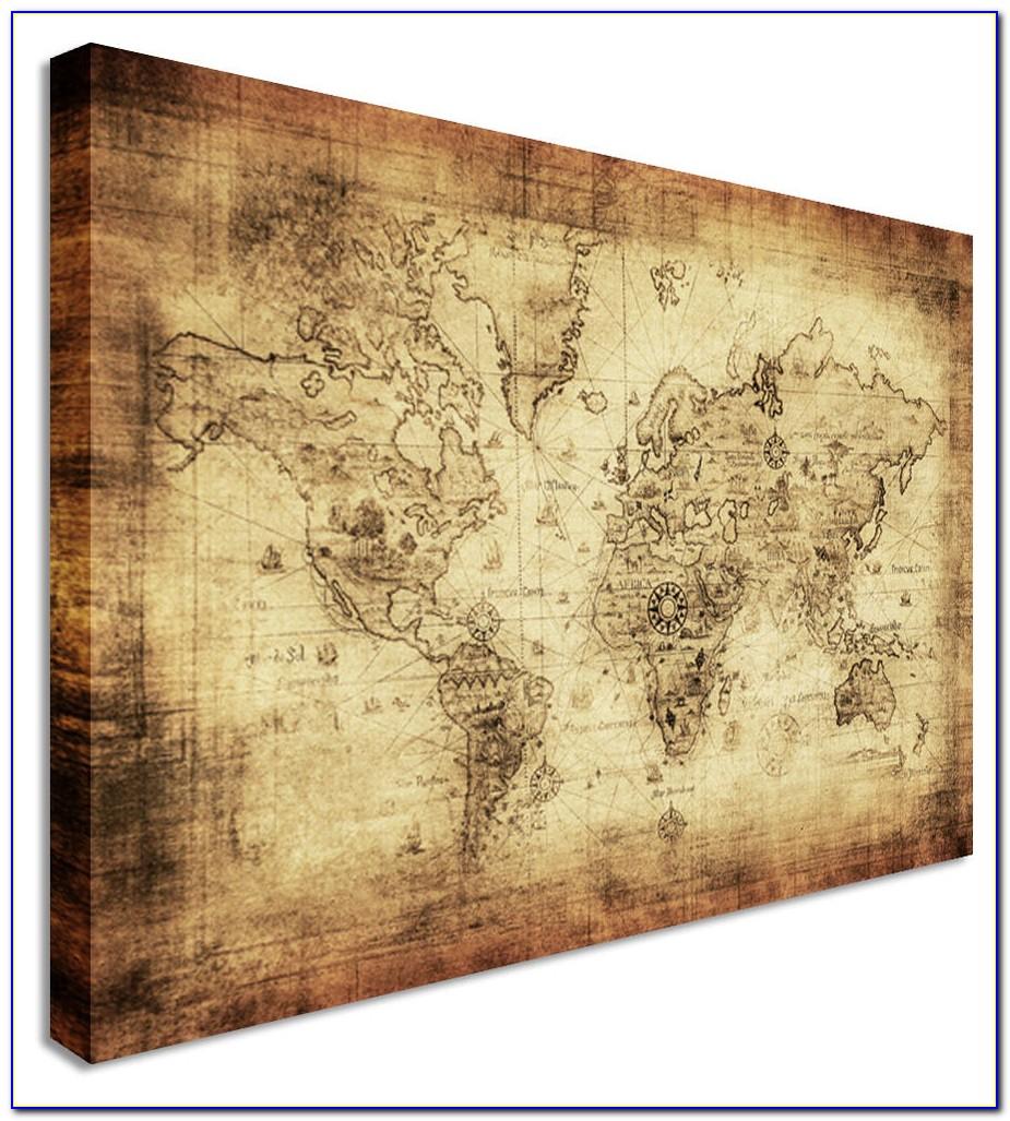 Colorful World Map Masterpiece Multi Panel Canvas Wall Art