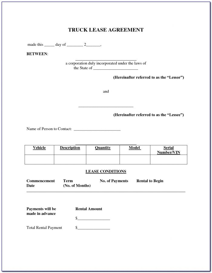 Commercial Truck Lease Agreement Form