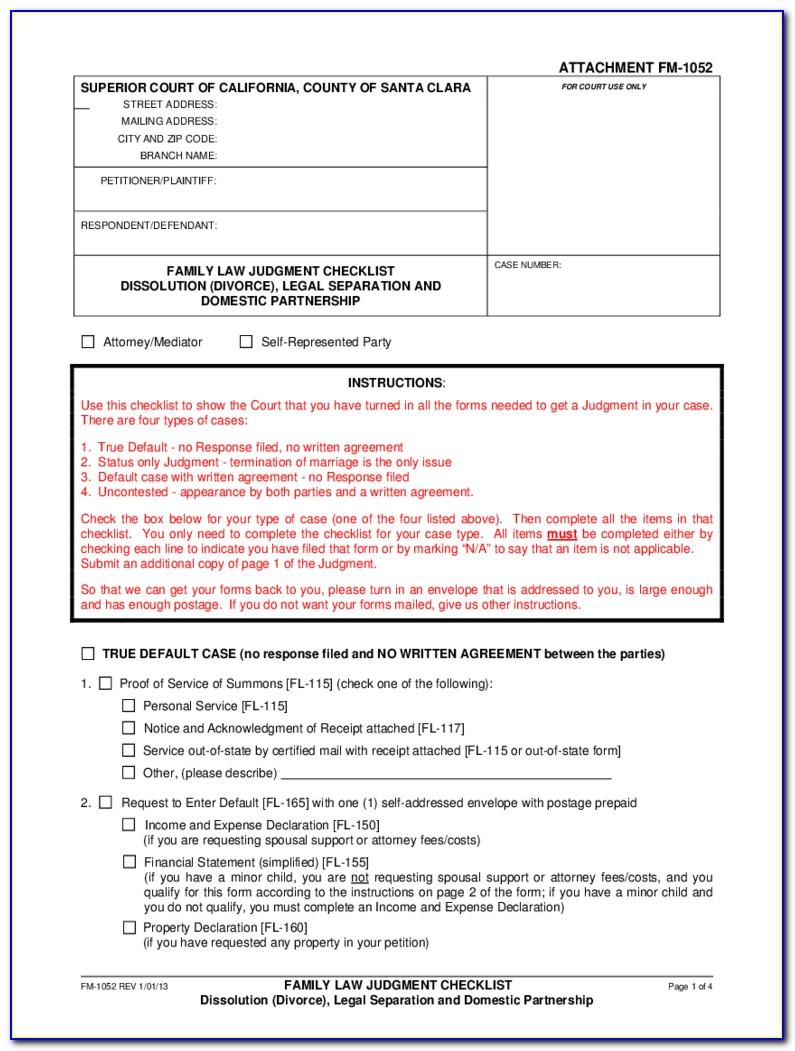 Complaint For Divorce Verification Form Nc