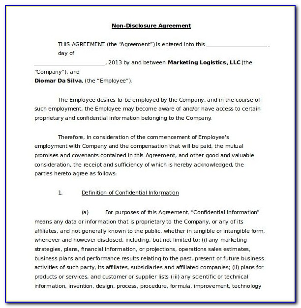 19+ Word Non Disclosure Agreement Templates Free Download | Free Regarding Non Disclosure Agreement Template Word
