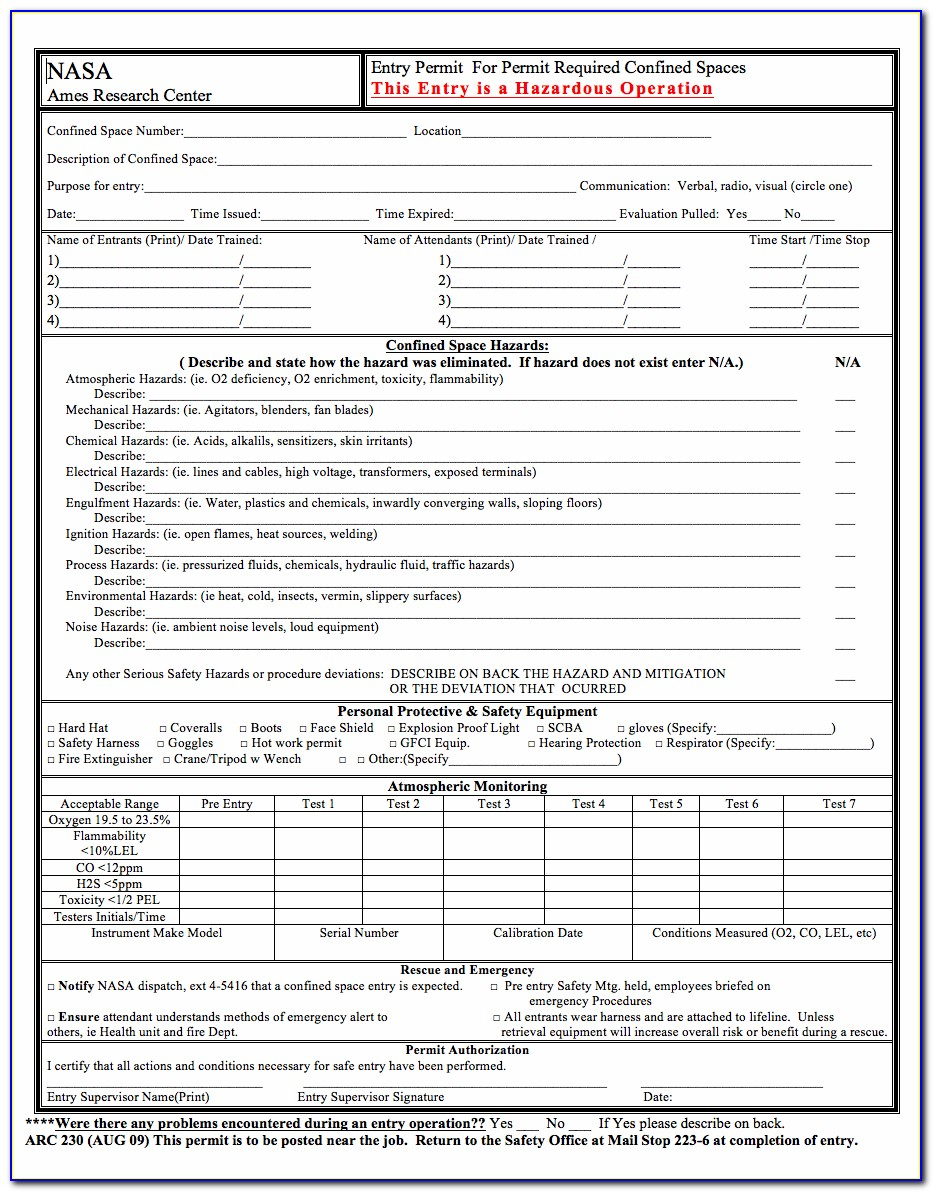 Confined Space Entry Permit Form Word Document
