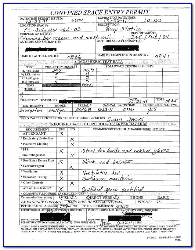 Confined Space Entry Permit Form
