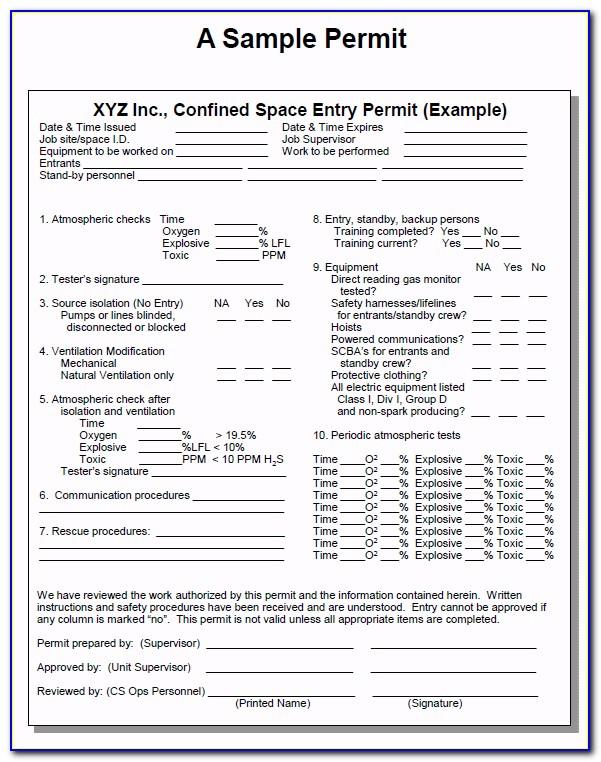 Confined Space Permit Audit Form