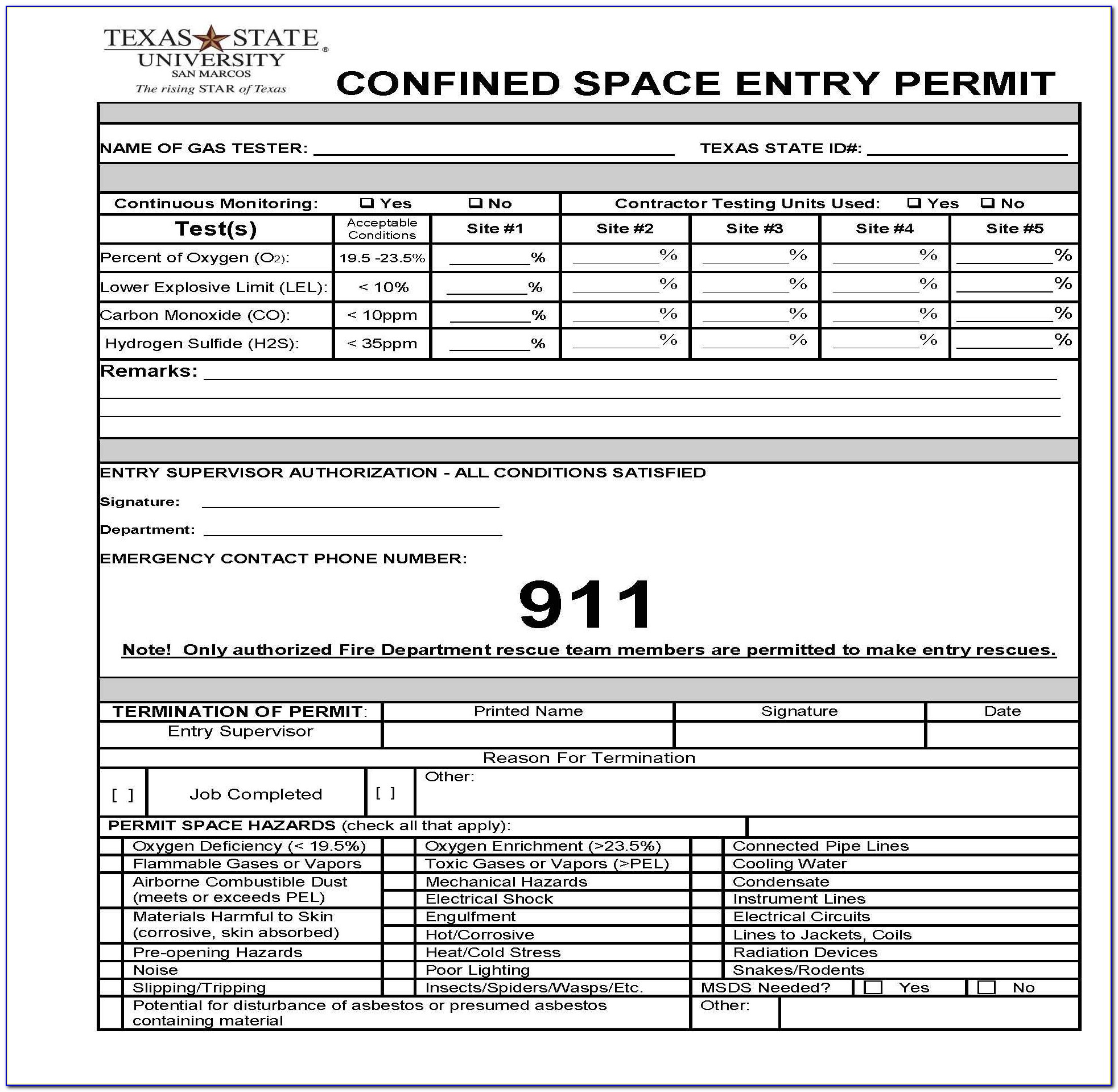 Confined Space Permit Forms