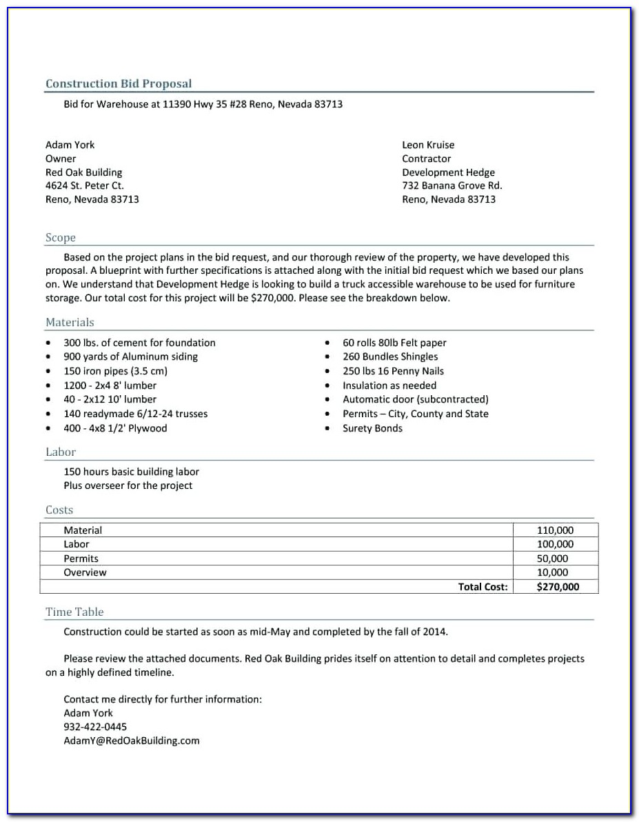 Construction Bid Forms Free Download