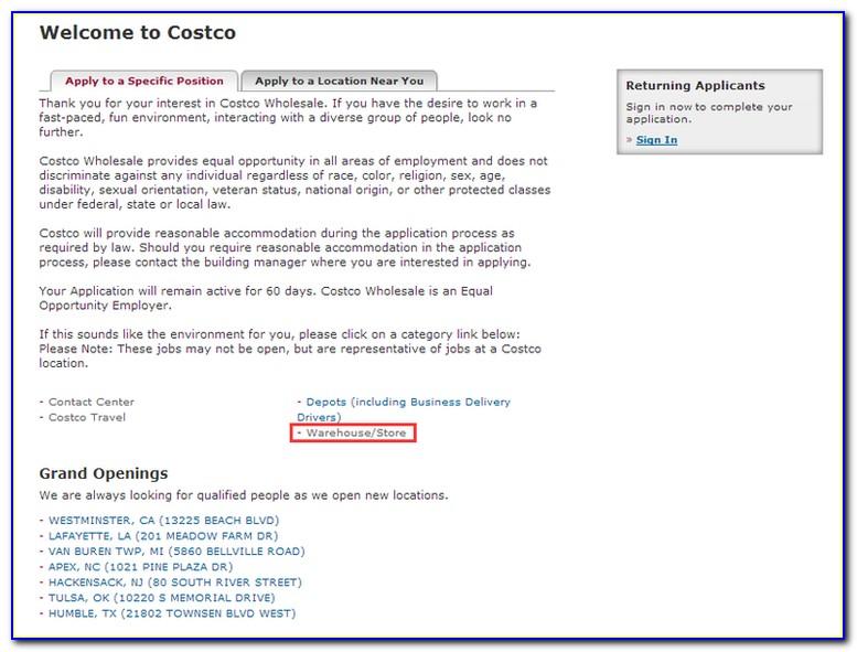 Costco Canada Job Application Online