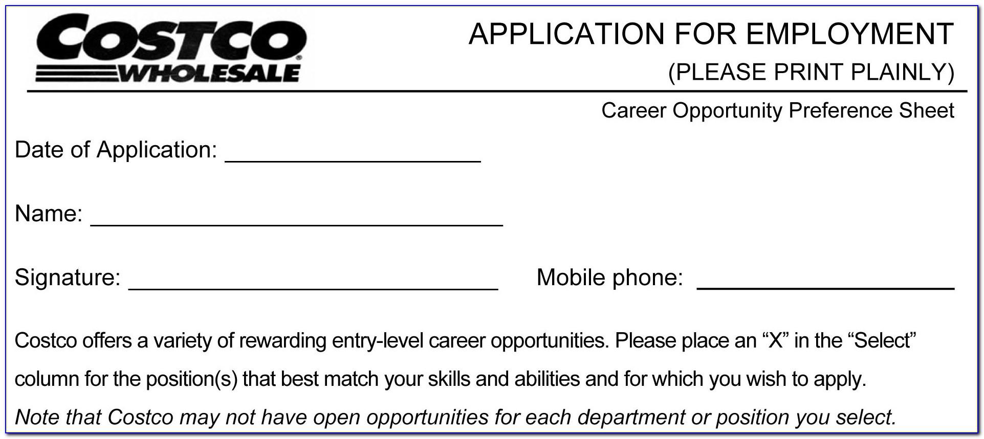 Costco Job Application Form Pdf