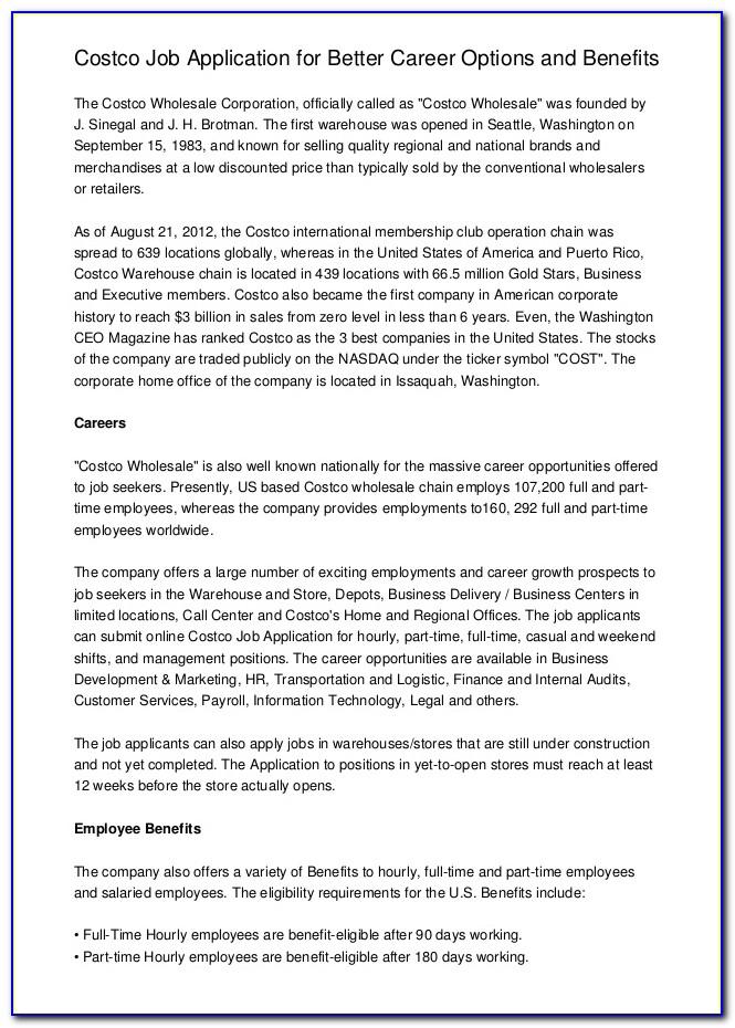 Costco Job Application Requirements