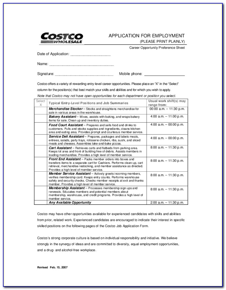 Costco Jobs Application Form