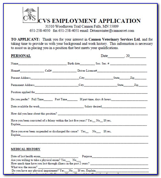 Cvs Application Job