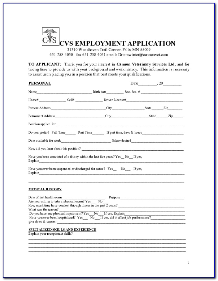 Cvs Job Application Pdf
