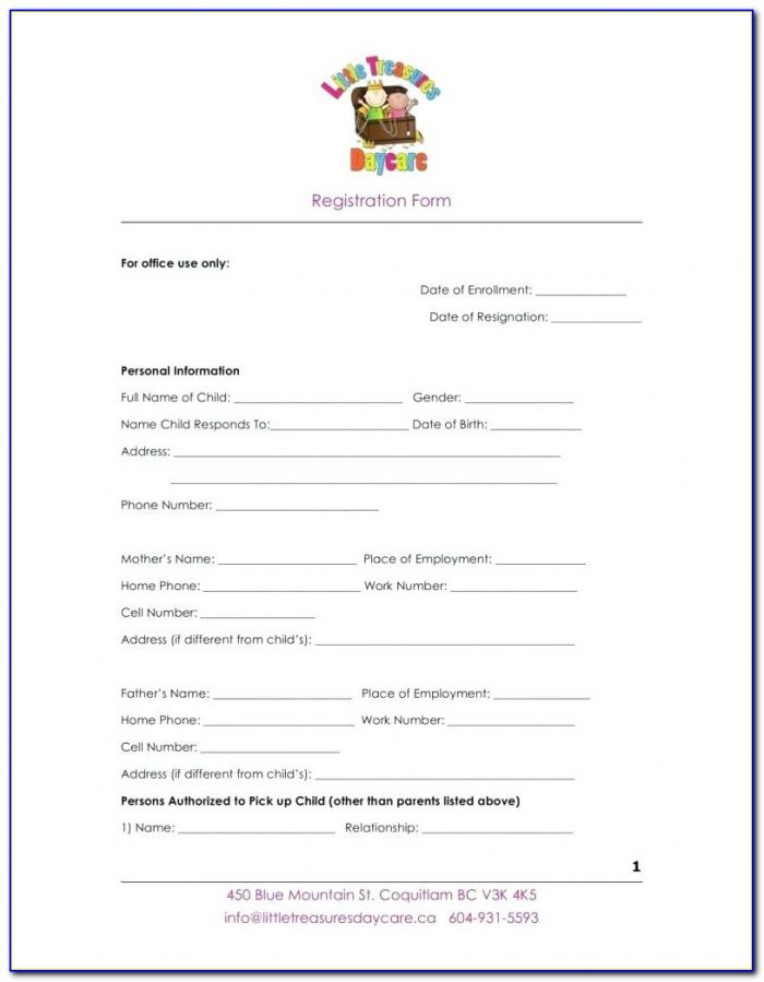 Daycare Registration Form Template Word
