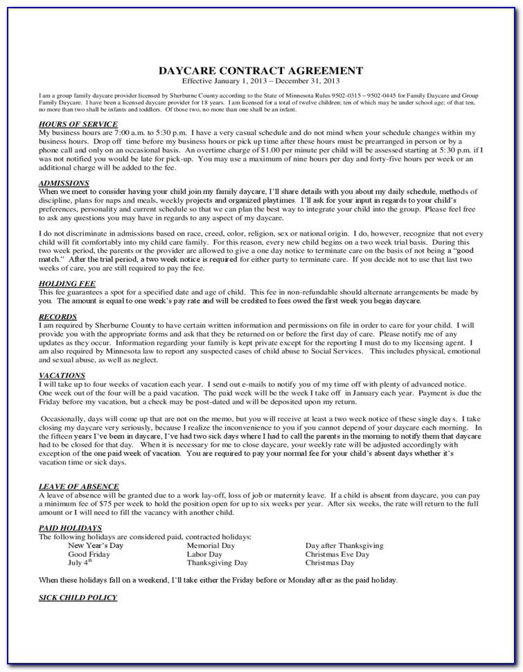 Daycare Transportation Agreement Form
