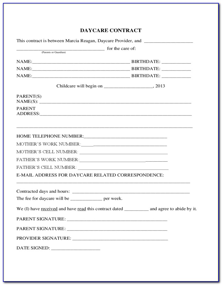 Daycare Tuition Agreement Form