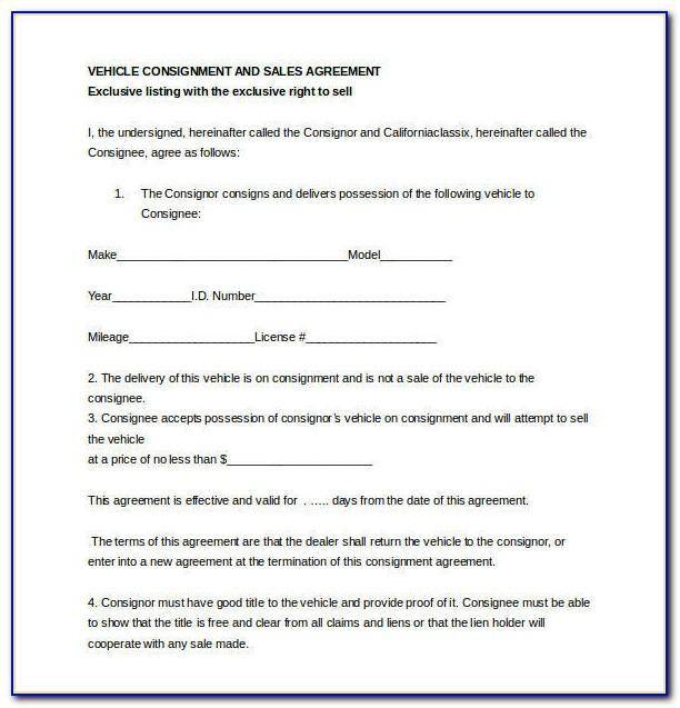 Dealer Consignment Form