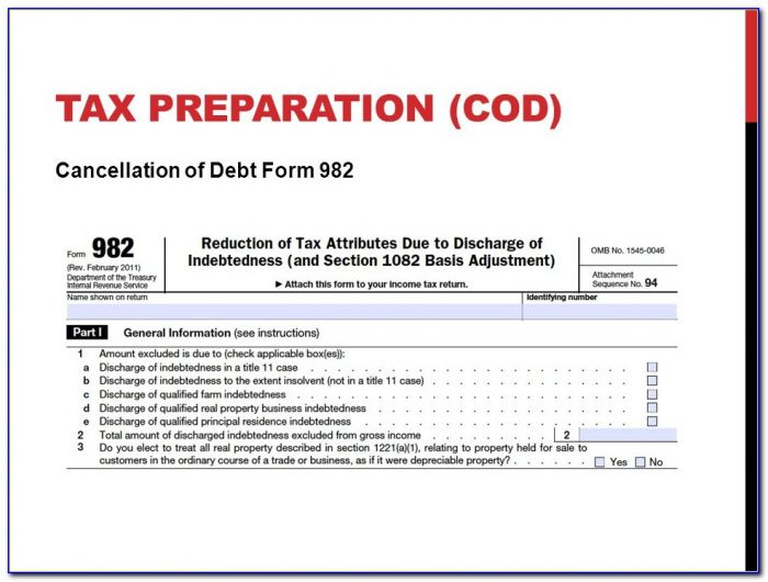 Tax Preparation (cod) Cancellation Of Debt Form 982