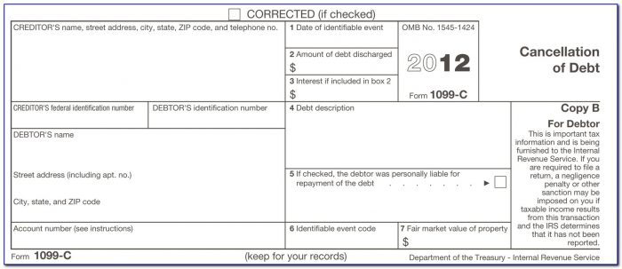 Debt Forgiveness Tax Form