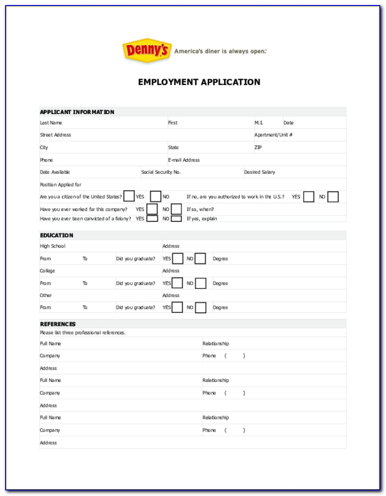 Denny's Job Application Form Online