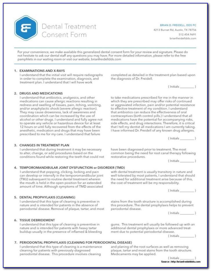 Dental Treatment Consent Form Template