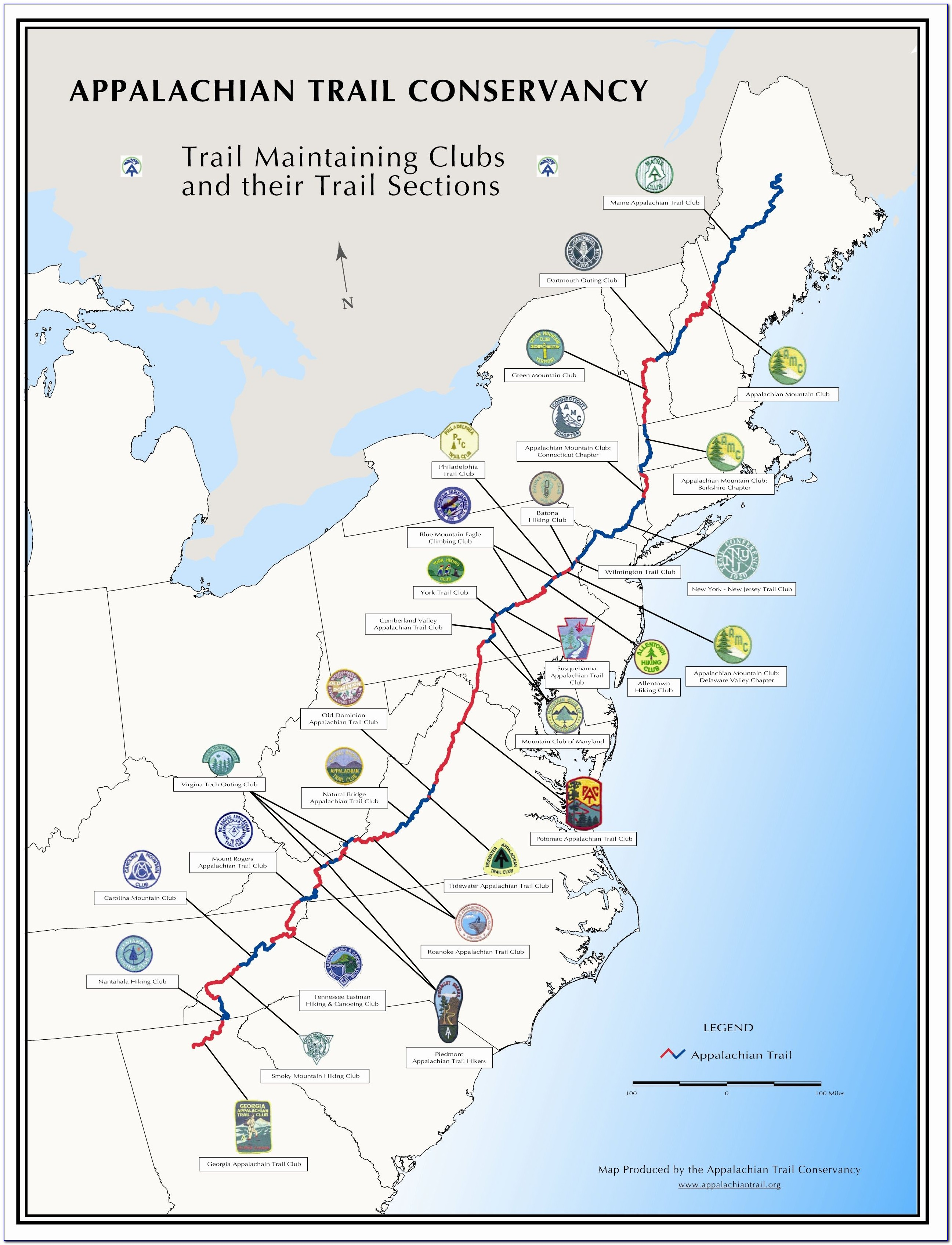 Detailed Map Of Appalachian Trail In North Carolina